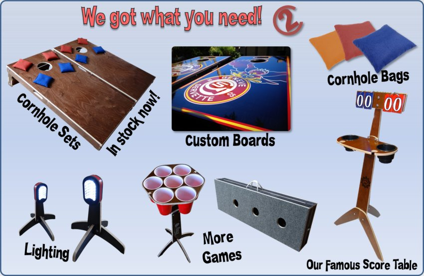 Cornhole product selection guide.  Easily choose cornhole sets, cornhole bags, score table, score boards, hole lights, light pods, and other great games.