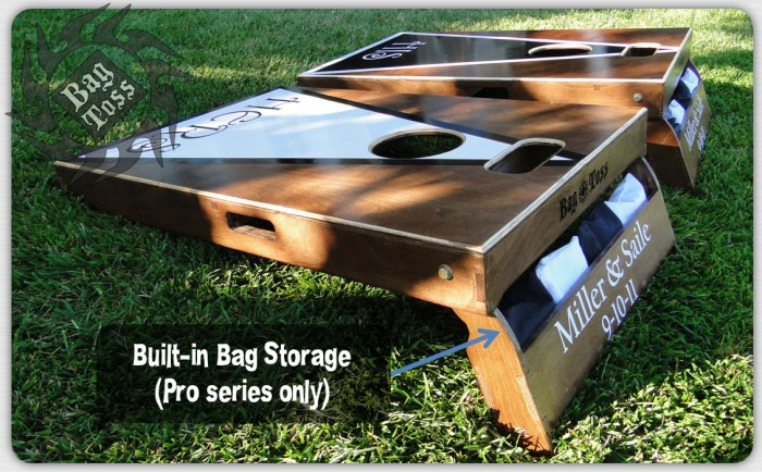 Bag Toss Cornhole classic set heritage finish showing folding stand that stows bags