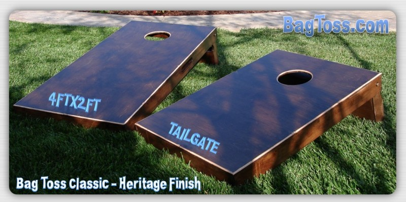 Bag Toss Classic with Heritage Finish showing 4ftx2ft vs Tailgate Size